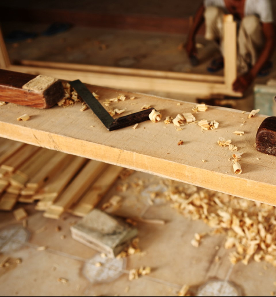 Schreiner Böblingen block plane and other carpentry tools on teak wood plank in carp